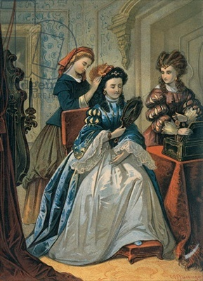 Cinderella doing her sisters's hair for the ball, illustration for 'Cinderella' by Charles Perrault (1628-1703) (colour engraving)