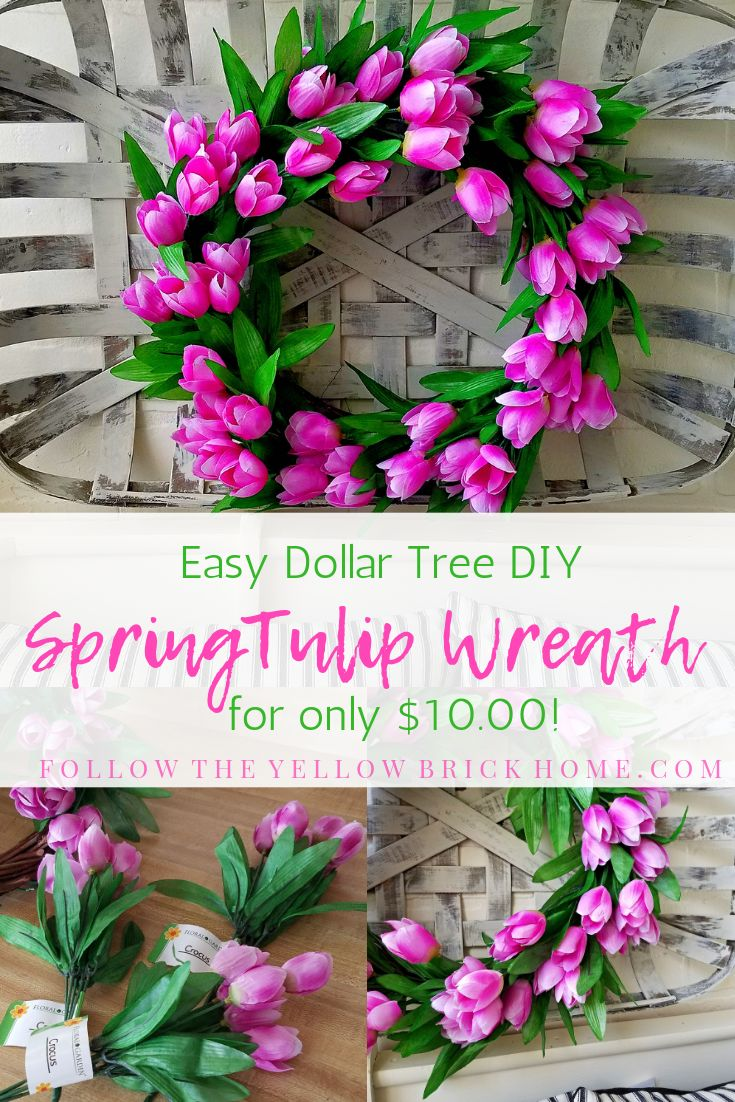 Easy Dollar Tree DIY Spring Tulip Wreath for Only $10.00!