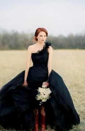 Black Wedding DressWedding Dressses, Cowboy Boots, Ball Gowns, Black Weddings, Gothic Wedding Dresses, Wedding Gowns, Wedding Style, One Shoulder, Black Wedding Dresses