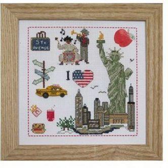 """point de croix new york   Kit de broderie avec perles sur carton perforé """" I love New-york """""""