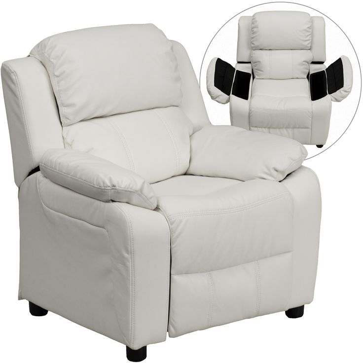 Flash Furniture Deluxe Padded Contemporary White Vinyl Kids Recliner with Storage Arms [BT-7985-KID-WHITE-GG]