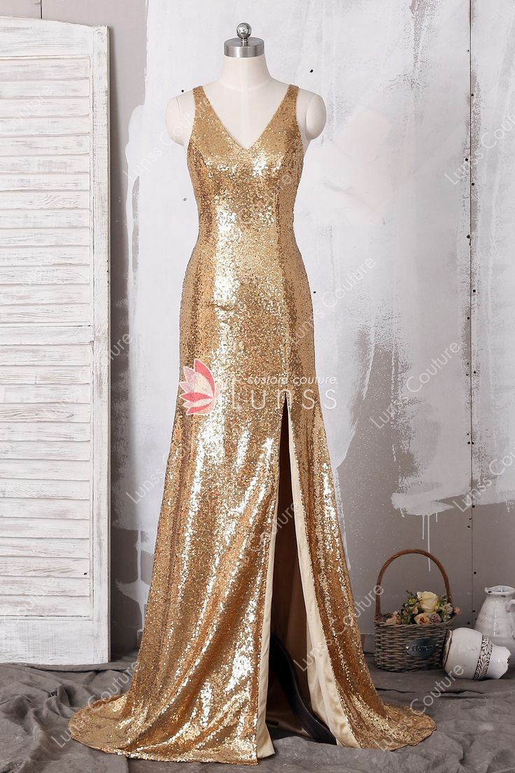 Gold sparkly sequin side cutout fitted long dress split