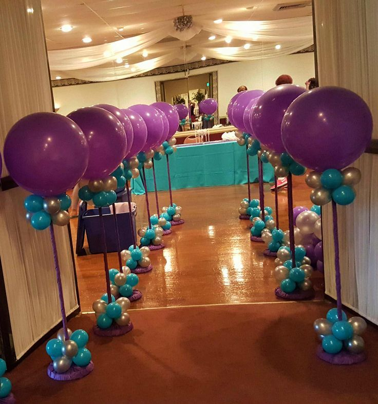 Balloon Wedding Decorations Ideas: Silver, Purple And Teal Balloon Topiaries Lined Up Along