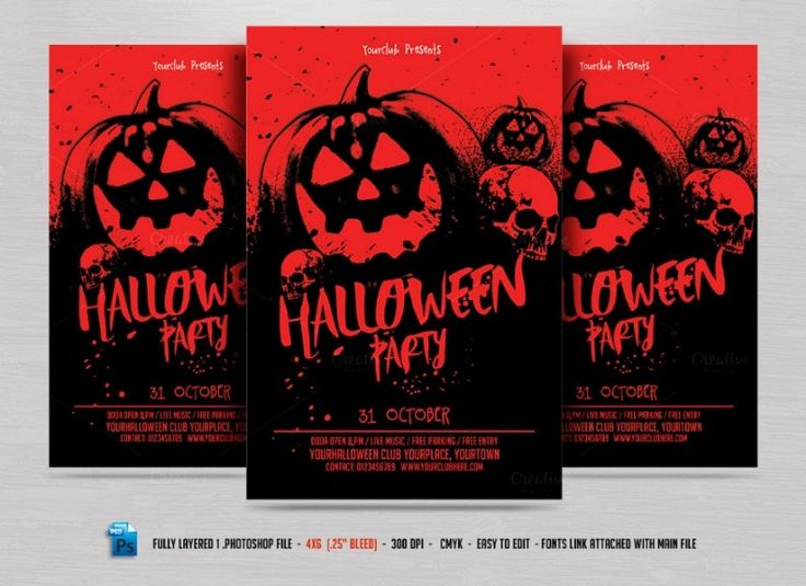 21 best Halloween Party Flyer Template images on Pinterest - party flyer