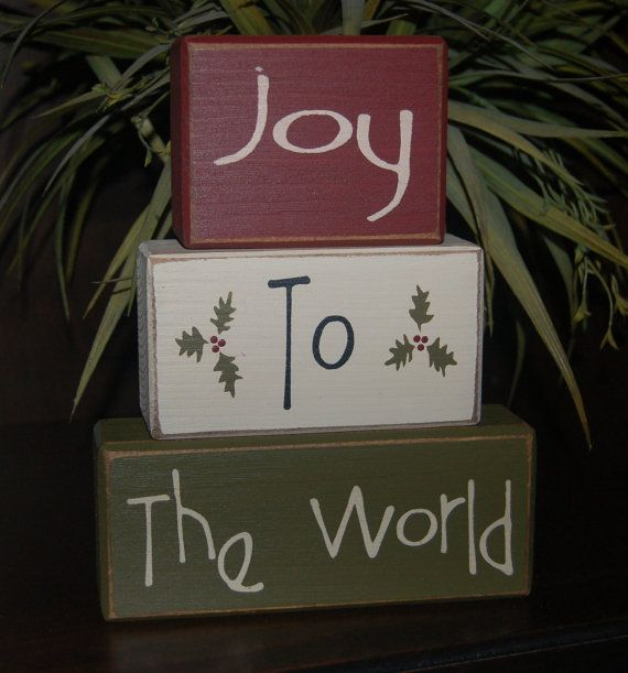 JOY To The WORLD Wood Sign Shelf Blocks Primitive Country Rustic Holiday Seasonal Christmas Home Decor