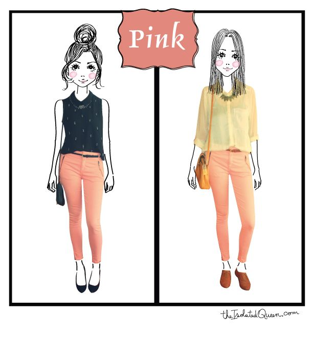 Pink pants made cute, details at http://theisolatedqueen.com/?p=221