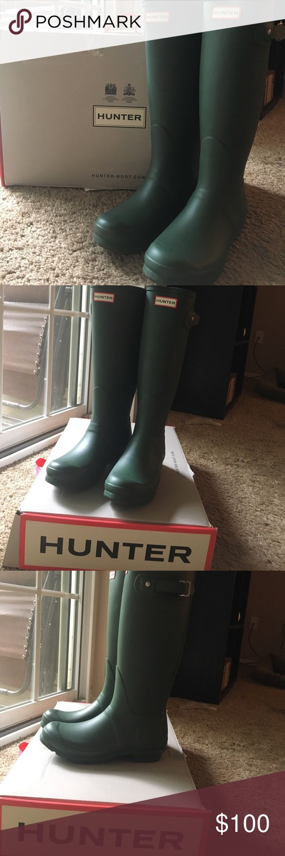 Hunter Boots - Tall Original Fit with Box Beautiful, never worn Hunter Original Tall boots. Brand new with original box. US women's size 7 or men's size 6. UK size 5. EU size 38. Have had these for a little while but they sat in my closet. Hunter Boots Shoes Winter & Rain Boots