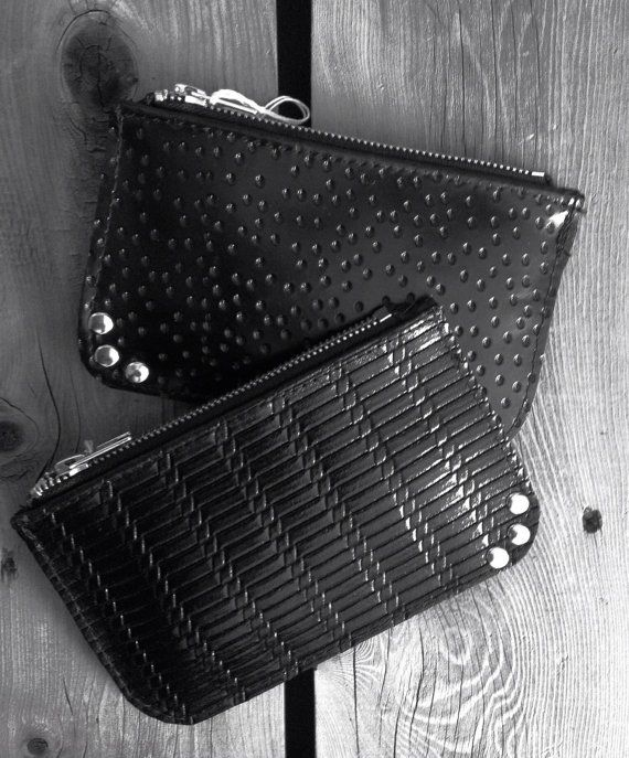 Black Patent Leather Clutches   Pebbled by HeartnSoulHandbags, $40.00