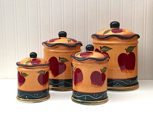 Kitchen Decor Country Apple Pc Canister Set
