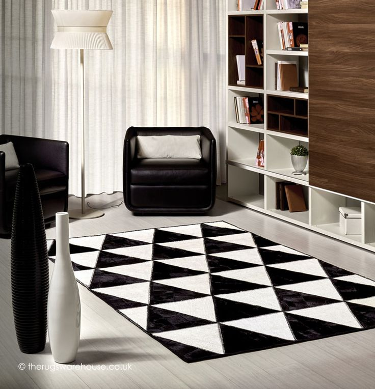 Barby Rock Rug A Luxury Italian Designed Monochrome Black White 50 Cowhide Leather