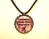 Camo and Hot Pink Country Girls Can Survive Browning Deer Black Bottlecap Suede Black Leather Necklace