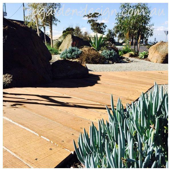 Coastal garden.Timber boardwalk.Succulents & Native plants working together. www.rpgardendesign.com.au