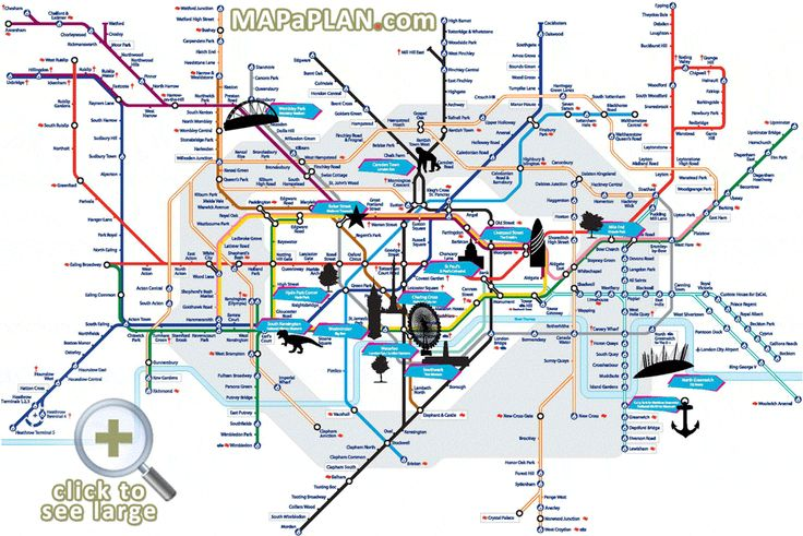 London top tourist attractions map Tube with points of interest – London Map of Tourist Attractions