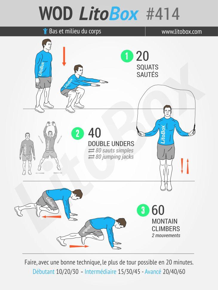 """Ce matin c'est un entraînement de type AMRAP : un WOD """"20 minutes chrono"""" pour booster la cardio, la perte de poids et l'endurance musculaire ! Essayez de"""