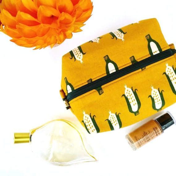 Mustard Linen Makeup Bag Wedding Gift Mustard by OneBusySloth