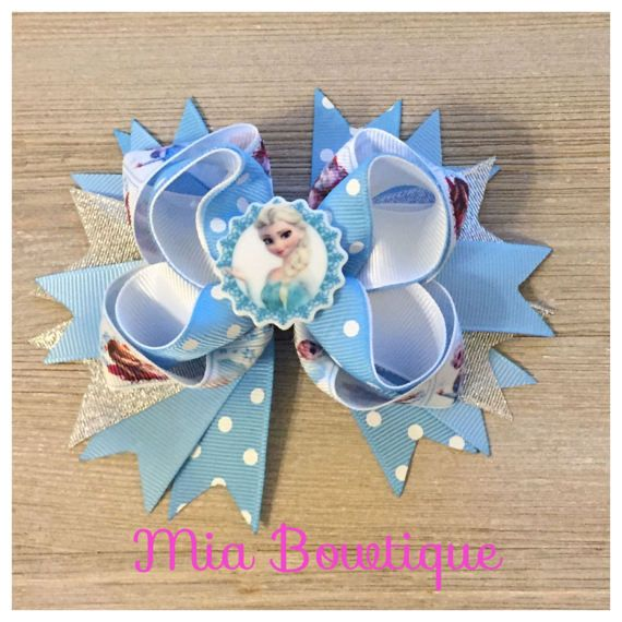 Ready to Ship Elsa Frozen Hair Bow Disney by MiaBowtiqueShop