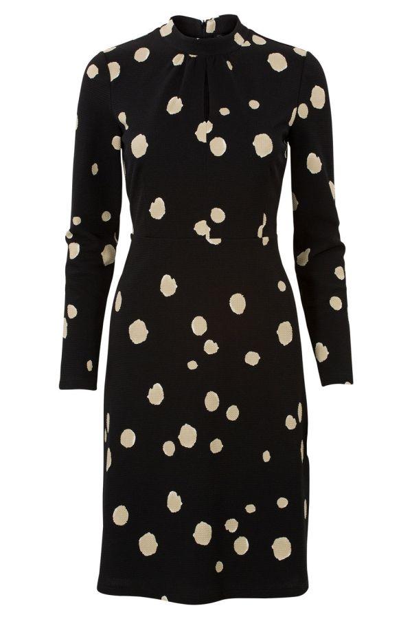 Steps; Polkadot jurk met lange mouwen Zwart