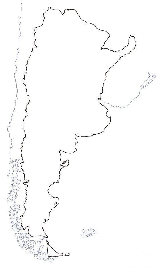 Mapa del contorno de Argentina. Mapas para imprimir de argentina. Mapas físicos y políticos, con nombres y sin nombres para que aprendas geografía de argentina.