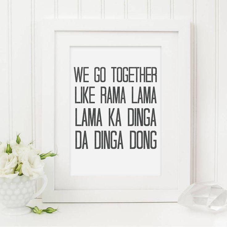 'We Go Together' Grease Lyrics Print