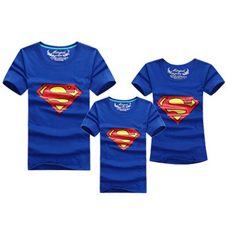 1psc Fashion Superman Family Matching Outfits T-shirt 11 Colors Clothes For matching family clothes mother father daughter son