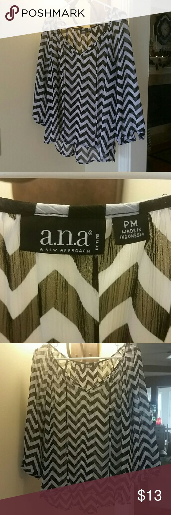 Chevron blouse Light and shear. Black and white Chevron blouse with 3/4 sleeves and tie. a.n.a Tops Blouses