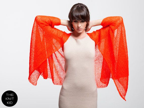 Cape neon red orange mohair THE KNIT KID theknitkid by THEKNITKID, €300.00