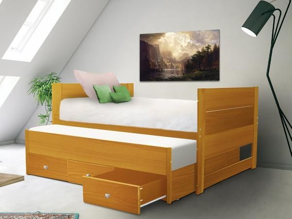 All In One Twin Bed With Trundle And 3 Drawers In Honey In 2020