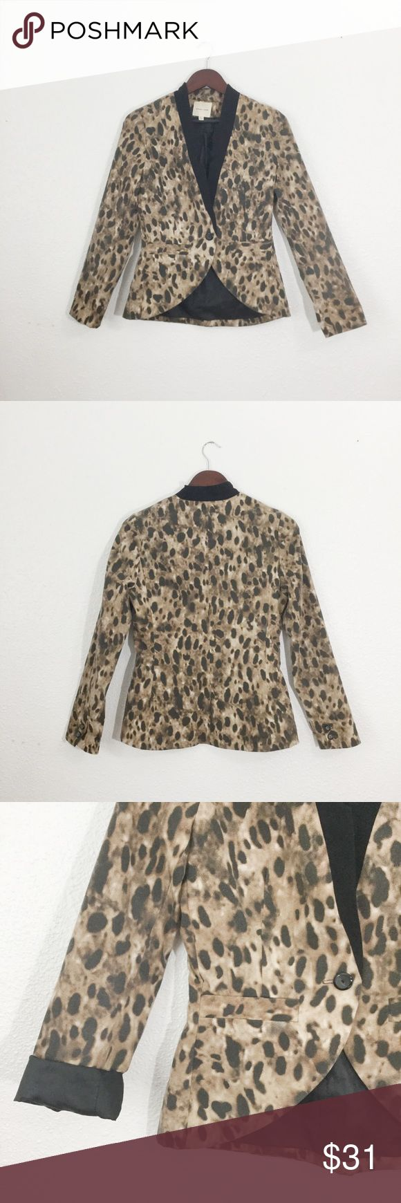 Urban Outfitters Leopard Blazer Urban Outfitters Silence + Noise leopard Blazer with black lapel detail. Fully lined. Single black button. Double faux front slit pockets. Dry clean only. Great statement piece! Urban Outfitters Jackets & Coats Blazers