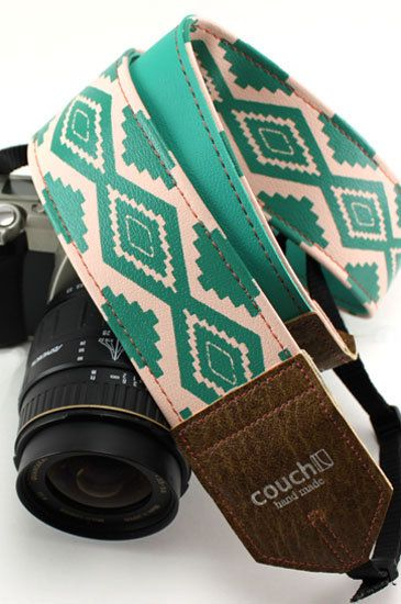 Southwestern Pink and Turquoise Camera Strap, Native American Navajo Inspired. $34.95, via Etsy.