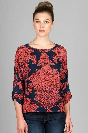 Wish List - Lilla P: WP3NS - Printed Woven 3/4 Sleeve Boatneck