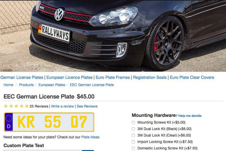 Custom Euro Plates Eec German License Plate