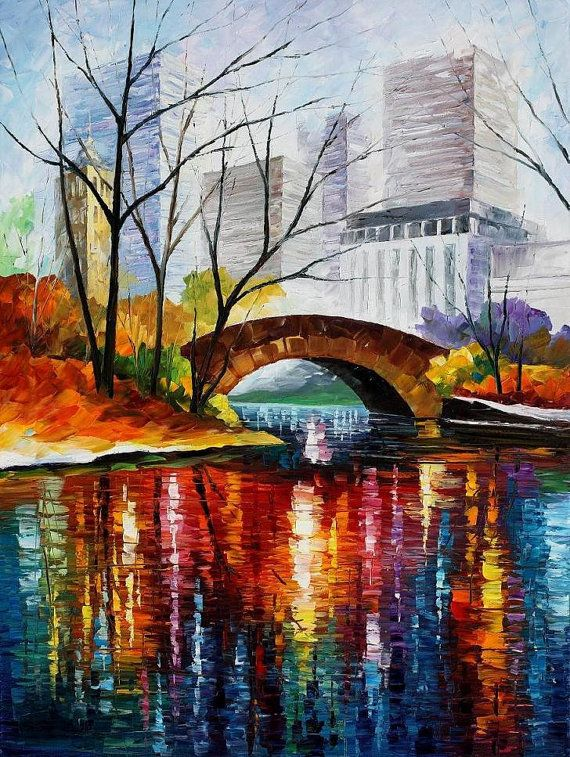 Central Park — PALETTE KNIFE Oil Painting On Canvas By AfremovArtStudio, $339.00 #art #painting #gift #design #fineart #Impressionism #homedecor #wallhanging #LeonidAfremov #AfremovArtStudio