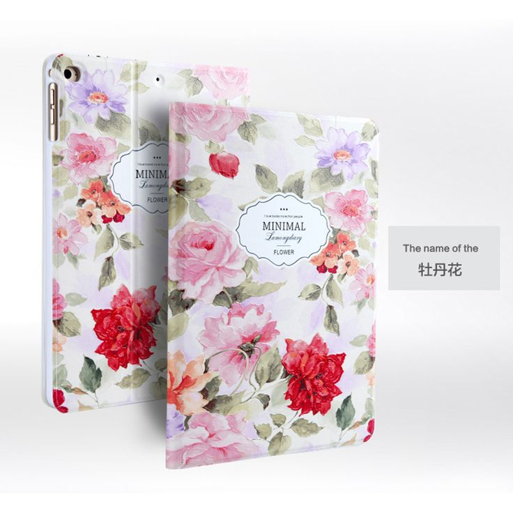 For Apple iPad Air 2 Luxury Fashion 3D Embossing Painted Magnetic PU Leather Case Smart Cover For iPad Air2/iPad 6 Stand