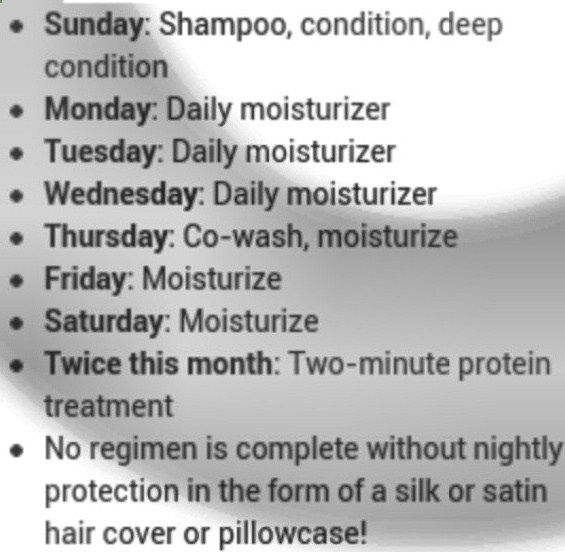Natural Hair Regimen Might try this. but conditioning twice a week will mess me…