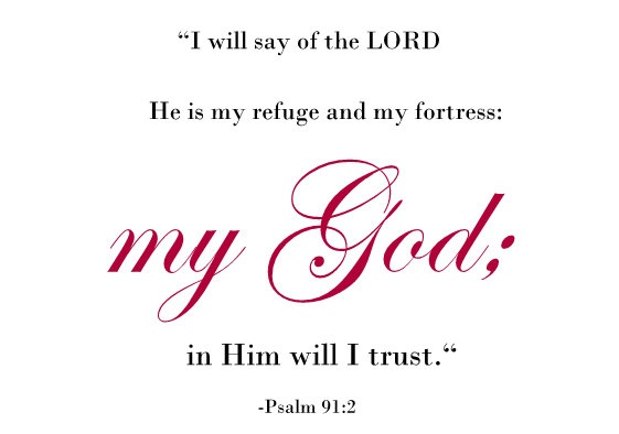 i will say of the Lord He is my refuge and my fortress: my God; in Him will I trust | Psalm 91:2 KJV