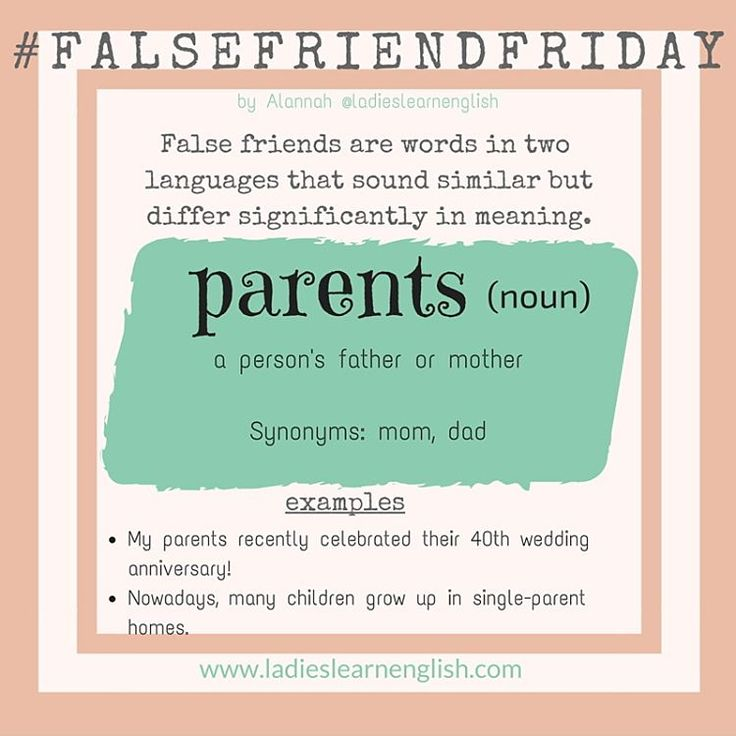 """#falsefriendfriday  • • The confusion with PARENTS is that 'parenti' means 'relatives/family' in Italian.  Lots of my students use the word 'parents' to talk about aunt, uncle, cousins etc.  Example: """"I went to my parents house with my mom and dad last weekend.""""  • This can be quite confusing for the listener. • As you can see from my example and explanation in the picture, PARENTS = MOM & DAD (e basta). • Do you have a similar false friend in your language?  Comment below!"""