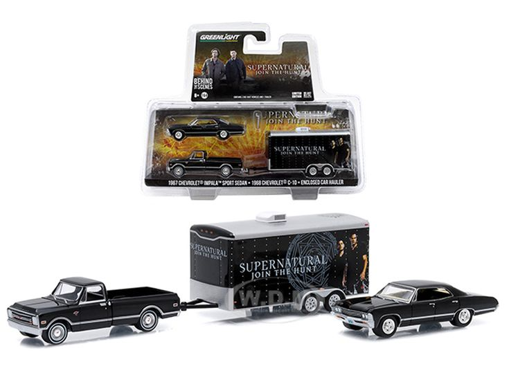"diecastmodelswholesale - 1968 Chevy C-10 Pickup and 1967 Chevrolet Impala 4 Doors with Enclosed Car Hauler Set ""Supernatural"" Series 1/64 Diecast Model Cars by Greenlight, $19.99 (http://www.diecastmodelswholesale.com/1968-chevy-c-10-pickup-and-1967-chevrolet-impala-4-doors-with-enclosed-car-hauler-set-supernatural-series-1-64-diecast-model-cars-by-greenlight/)"