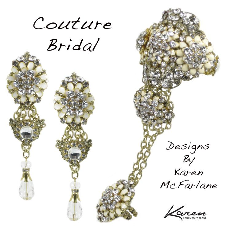 Couture Bridal Earrings and Handpiece by Karen McFarlane