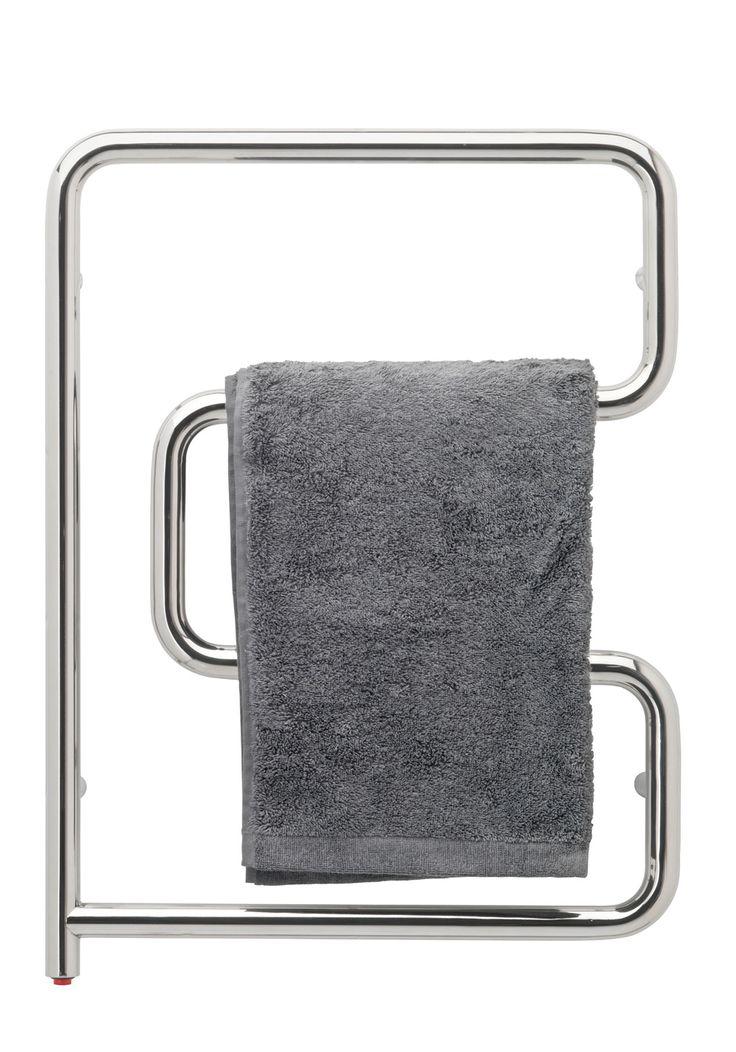 Hafa My Handdukstork. Svängbar handdukstork av blanka rostfria stålrör med svängda stänger. Inbyggd elslinga med strömbrytare och stickkontakt för enkel anslutning.