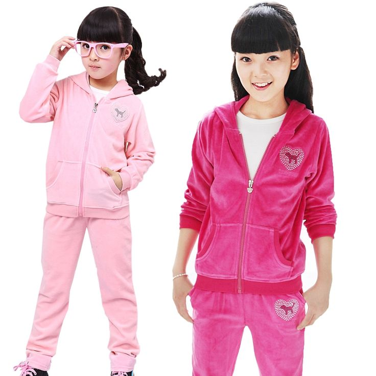 19.16$  Buy here - http://aliigq.shopchina.info/go.php?t=1477362246 - Autumn Girls Sports Suit Velet Children Clothing Sets Baby Kids Sportswear Big Child Hoodies Jacket & Pants Twinset 4-12 Years  #buyininternet