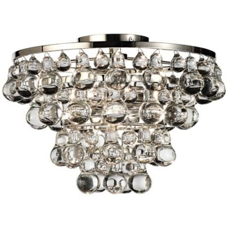 Bling Collection Polished Nickel Flushmount Ceiling Light -