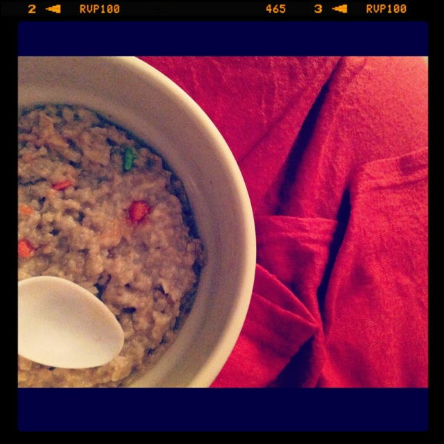 Nothing like a nice bowl of dinosaur egg oatmeal and a blanket.
