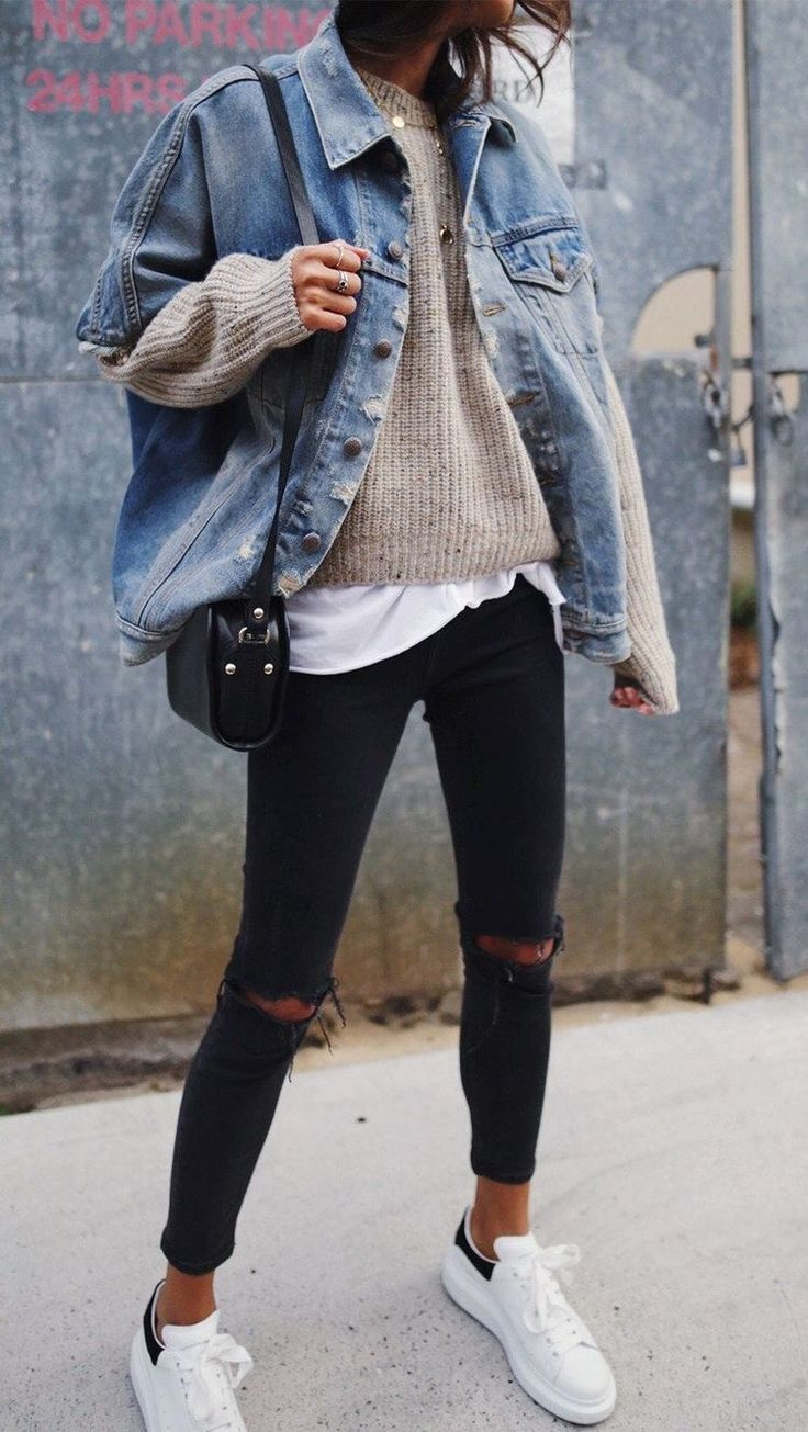 Skinny Jean Knitwear Denim Jacket Fashion Ootd Winter Clothes Women Casual Casual Winter Outfits Winter Outfits 2019 [ 1305 x 736 Pixel ]