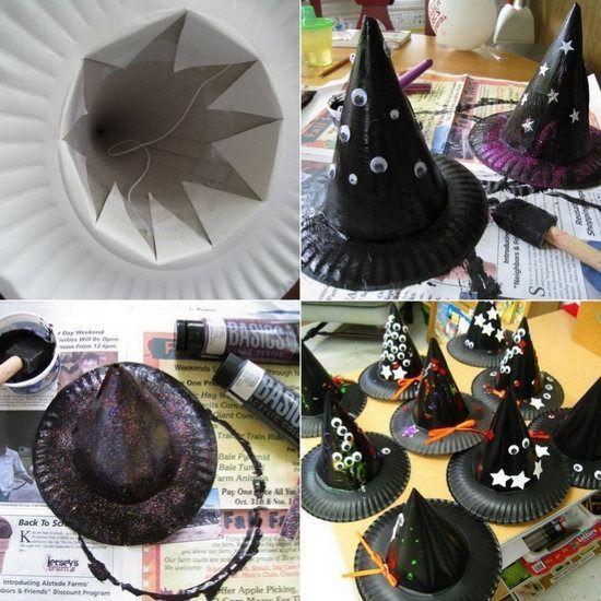 Sombreros de bruja para Halloween hechos con platos de papel