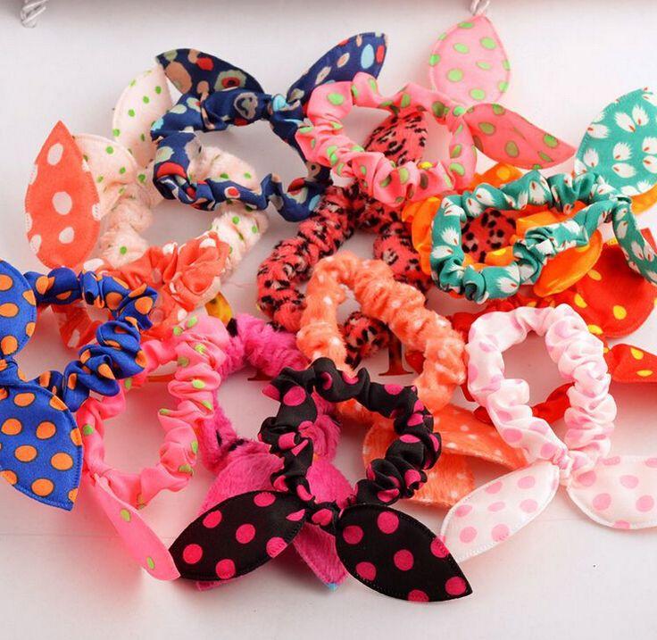 10 Stks/partij Leuke Bunny Meisjes Meisje Bloem Haar Clip Hoofdbanden Konijnenoren Dot Hoofddeksels Elastische Haarband Touw
