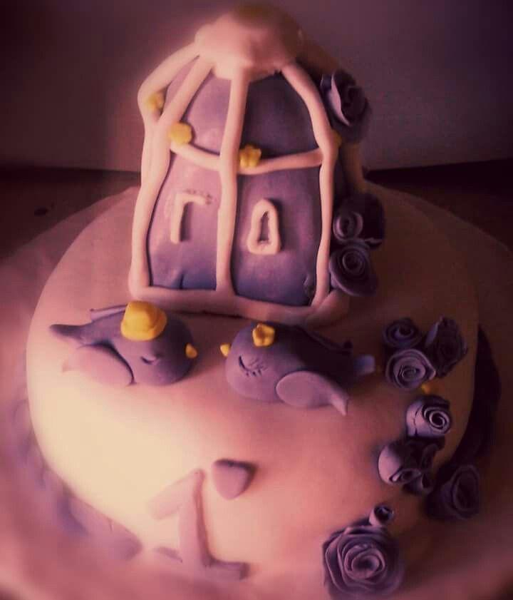τούρτα ζαχαρόπαστα επέτειος γάμου cake