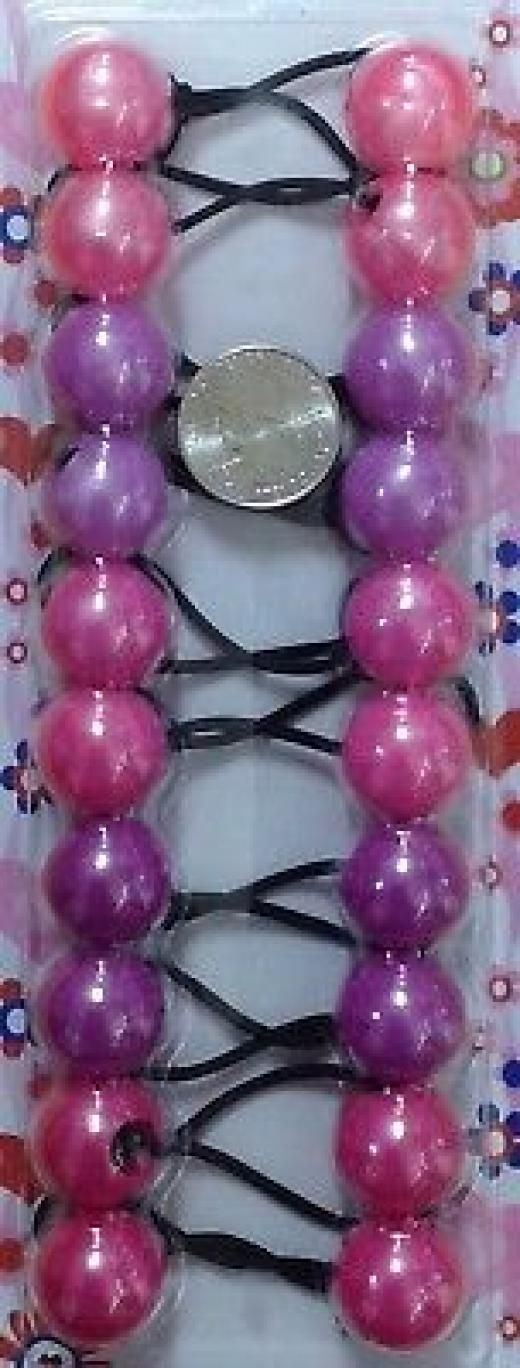 B T Pink Scrunchie Jumbo Bead Hair Tie Girl Ball Ponytail Holder
