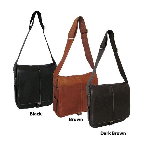 Amerileather Leather 'Teddy' Vertical Messenger Bag