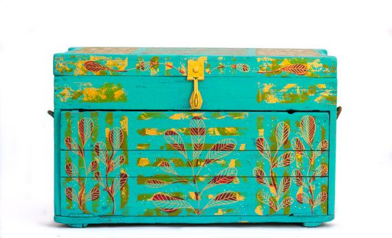 Hand painted furniture vintage antique chest - The Keeper of Secrets