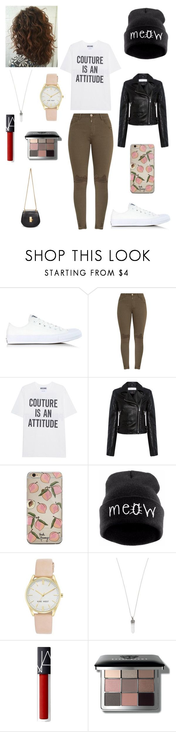 """""""Sans titre #2346"""" by amandine-collet ❤ liked on Polyvore featuring Converse, Moschino, IRO, Nine West, Marc Jacobs, Bobbi Brown Cosmetics and Chloé"""